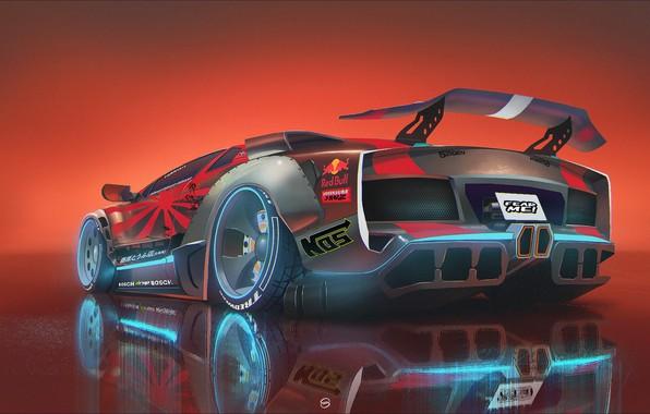 Картинка Car, Red Bull, Neon, Illustration, Concept Art, Cyberpunk, Creatures, Transport & Vehicles, by Vlad Demidov, …