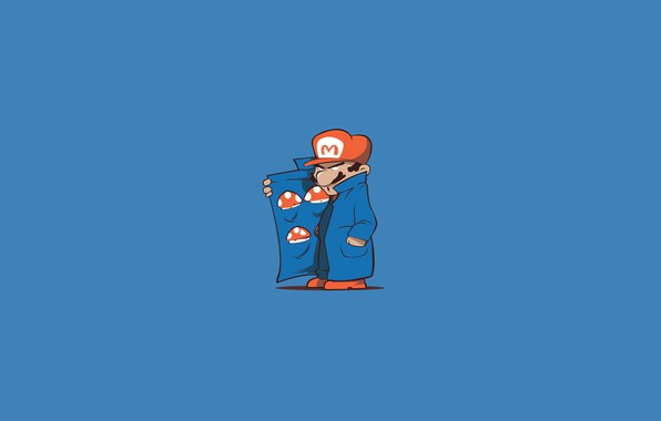 Картинка Минимализм, Игра, Стиль, Грибы, Марио, Фон, Art, Mario, Super Mario