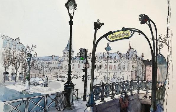 Картинка метро, рисунок, Париж, акварель, городской пейзаж, бульвар Сен-Мишель