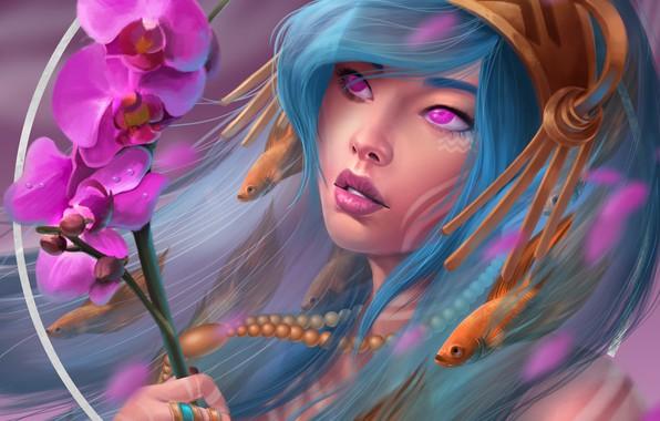 Картинка цветы, рисунки, орхидеи, by Ataraxicare