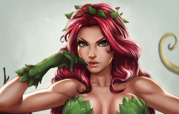 Картинка девушка, растение, ядовитый плющ, DC Comics, Poison Ivy, Памела Айсли, by Dandonfuga