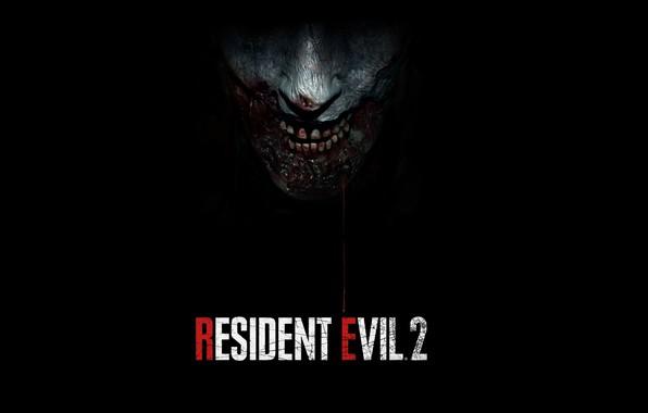 Картинка Игра, Кровь, Зубы, Кожа, Zombie, Логотип, Зомби, Logo, Название, Враг, Resident Evil 2