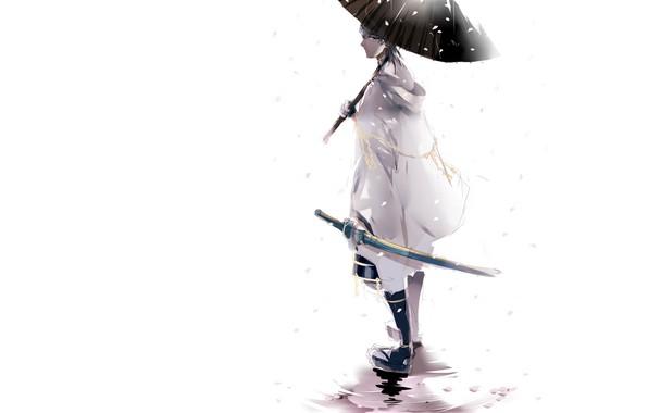 Картинка снег, катана, зонт, лужа, белый фон, парень, белый плащ, Touken Ranbu, Tsurumaru Kuninaga, Танец Мечей, …