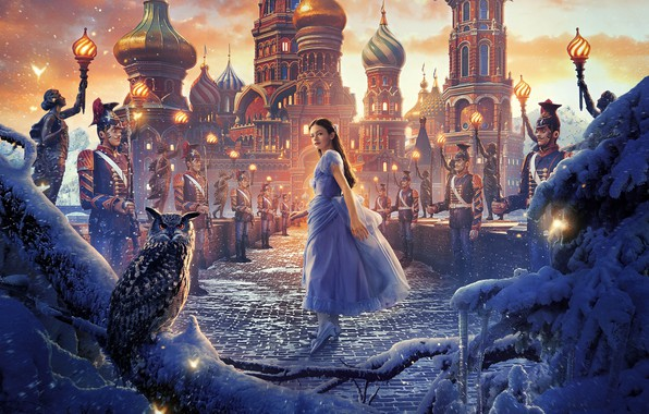 Картинка девушка, снег, мост, сова, птица, фэнтези, солдаты, постер, дворец, филин, Walt Disney, Mackenzie Foy, Маккензи …
