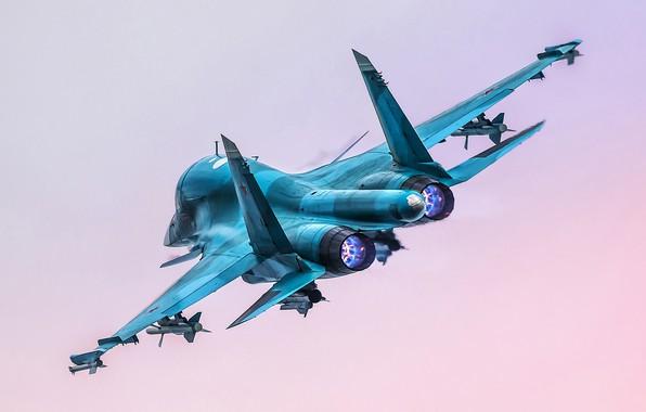 Картинка полёт, истребитель-бомбардировщик, Су-34, Su-34