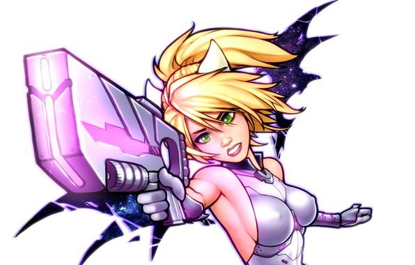 Картинка грудь, глаза, девушка, пистолет, оружие, крылья, арт, блондинка, костюм, уши, бластер