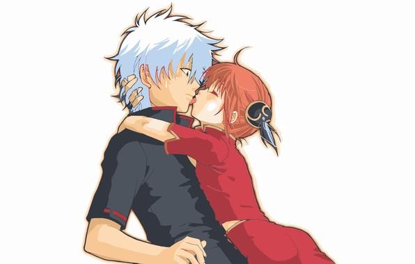Картинка язык, белый фон, шок, Gintama, Sakata Gintoki, Kagura, почти поцелуй, Гинтама, Гинтоки Саката, рыжая девочка