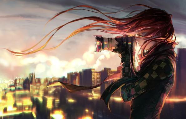 Картинка девушка, город, вечер, фотоаппарат, yuumei