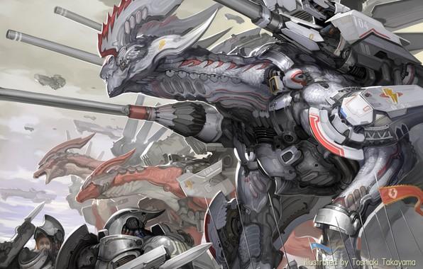 Картинка guns, fantasy, robot, armor, science fiction, army, sci-fi, weapons, digital art, artwork, fantasy art, spears, …
