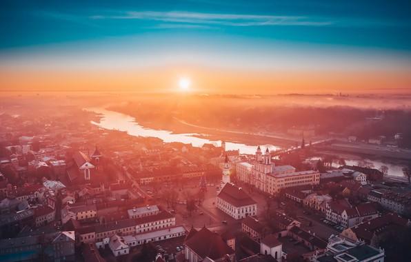 Картинка туман, утро, Lietuva, Kaunas