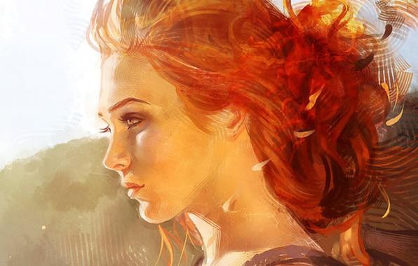 Картинка лицо, рыжие волосы, в профиль, портрет девушки, шея плечи