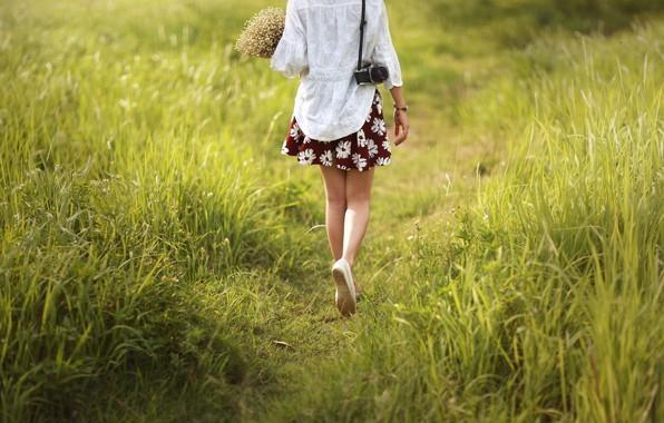 Фото обои девушка, цветы, ноги, тропа, фотоаппарат