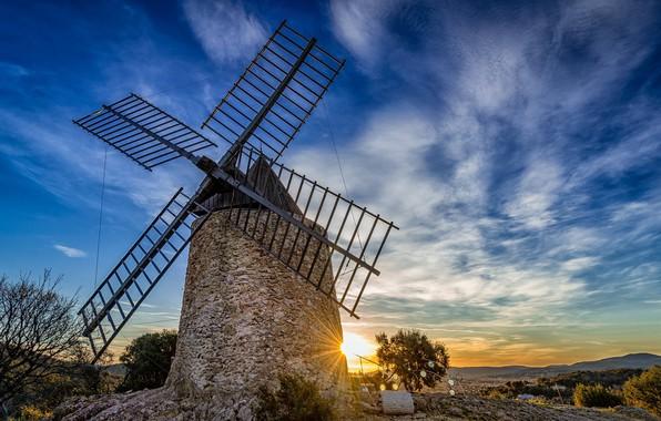 Картинка Франция, ветряк, мельница, Прованс