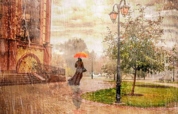 Картинка осень, город, дождь, дерево, настроение, женщина, зонт, фонарь, рябина