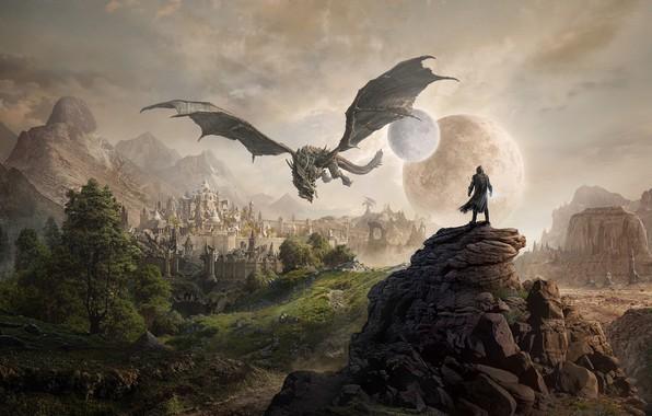 Картинка city, moon, fantasy, game, trees, mountains, rocks, planet, dragon, digital art, artwork, The Elder Scrolls, ...