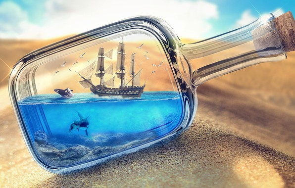 Картинка песок, море, пустыня, корабль, бутылка, фотоарт, корабль в бутылке, море в бутылке