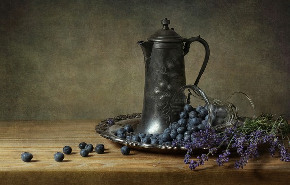 Картинка Lavender, Still Life, Blueberries