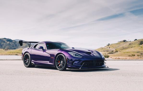 Картинка фиолетовый, спорткар, Dodge Viper, Dodge Viper ACR, Viper ACR