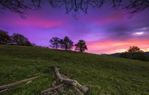 Картинка небо, закат, гора