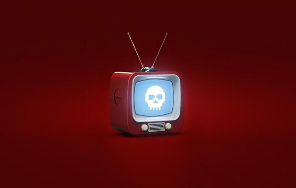 Картинка Красный, Минимализм, Фон, Телевизор, Арт, Evil TV, Овчаренко, Александр Овчаренко