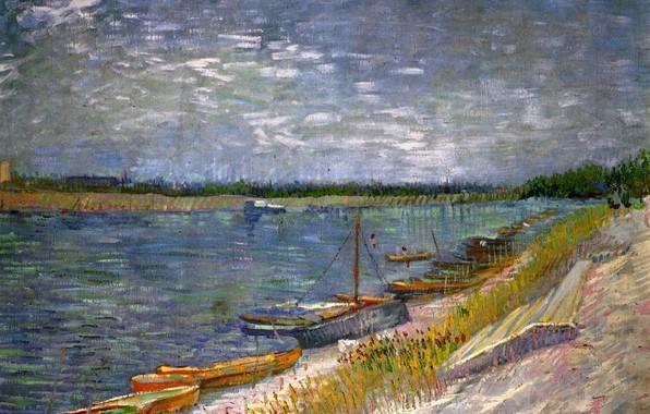 Картинка река, лодки, Винсент ван Гог, with Rowing Boats, View of a River