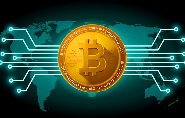 Картинка green, зелёный, fon, coin, bitcoin, биткоин, btc