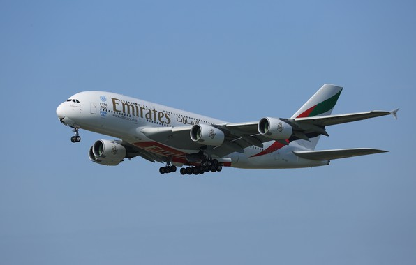 Картинка небо, полёт, лайнер, Airbus, A380-861
