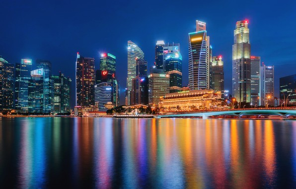 Картинка мост, здания, дома, Сингапур, ночной город, небоскрёбы, Singapore, Marina Bay, Залив Марина-Бэй