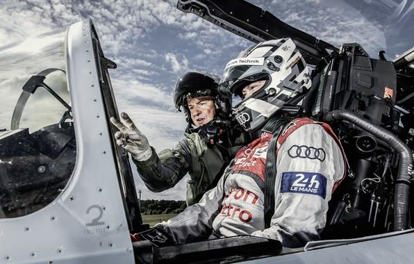 Картинка Истребитель, Шлем, Пилот, 24 Hours of Le Mans, 24 часа Ле-Мана, Eurofighter Typhoon, Кокпит, Андре …