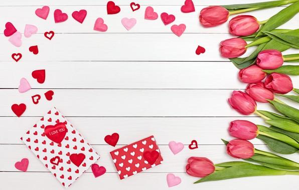 Картинка цветы, праздник, сердечки, тюльпаны, день влюбленных