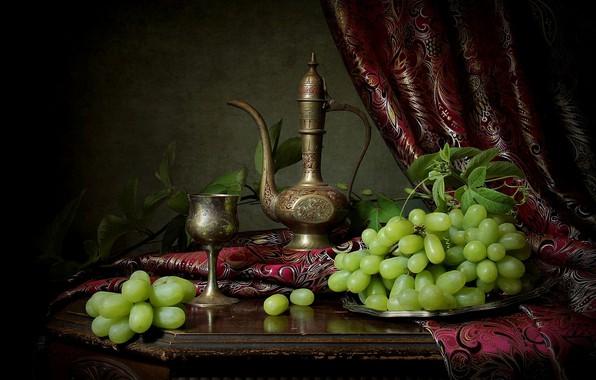 Картинка стиль, бокал, виноград, кувшин, натюрморт, штора