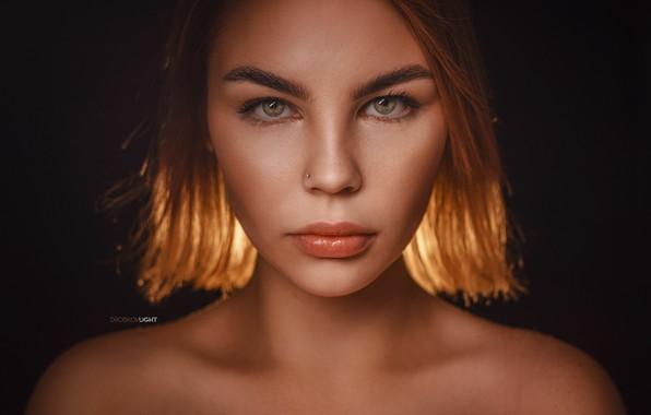 Картинка взгляд, девушка, лицо, фон, портрет, губки, плечи, Alexander Drobkov-Light, Елизавета Куликова
