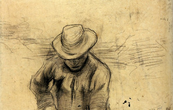Картинка шляпа, мужчина, Vincent van Gogh, Peasant with a Fork