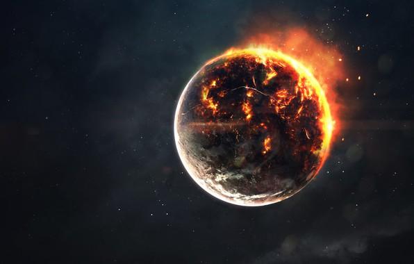 Картинка Звезды, Огонь, Планета, Космос, Звезда, Апокалипсис, Hell, Пламя, Cataclysm, Fire, Star, Арт, Stars, Space, Art, …