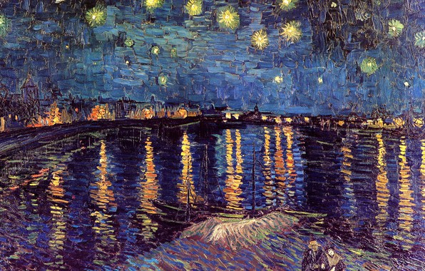 Картинка ночь, река, лодки, фонари, пара, Винсент ван Гог, Starry Night, Over the Rhone