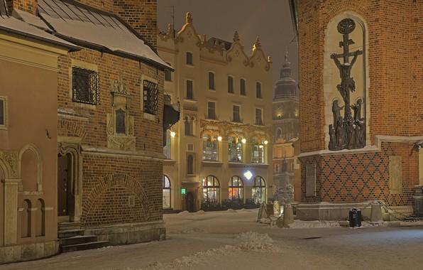 Картинка зима, дома, Польша, Краков