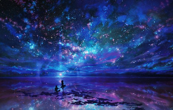 Картинка море, звезды, ночь, отражение, берег, влюбленные, beach, силуэты, свидание, sea, night, stars, lovers, парень и …