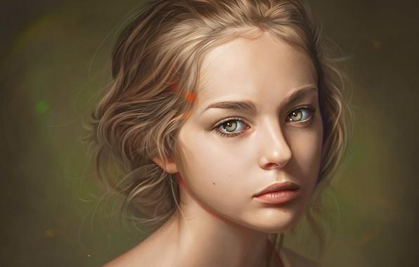 Картинка лицо, губки, шея, art, родинки, русые волосы, портрет девушки, Loy Baldon, смотрит в душу