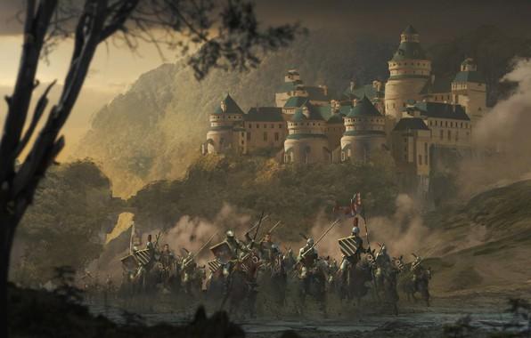 Картинка лес, оружие, доспехи, Замок, флаг, воин, всадник, рыцарь