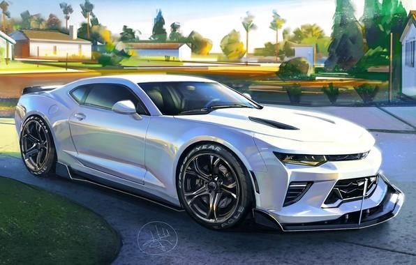 Картинка Car, White, Chevrolet Camaro, Sketch, Aleksandr Sidelnikov
