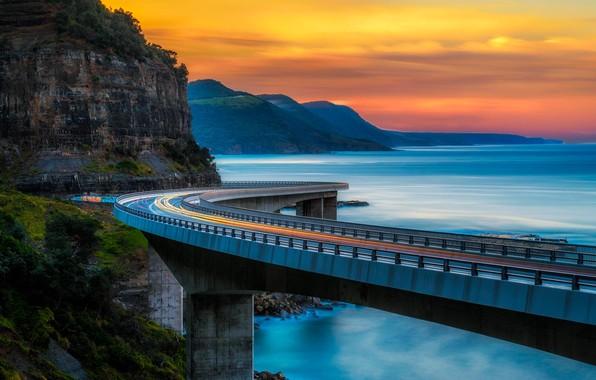 Картинка горы, мост, океан, Австралия, Sea Cliff Bridge