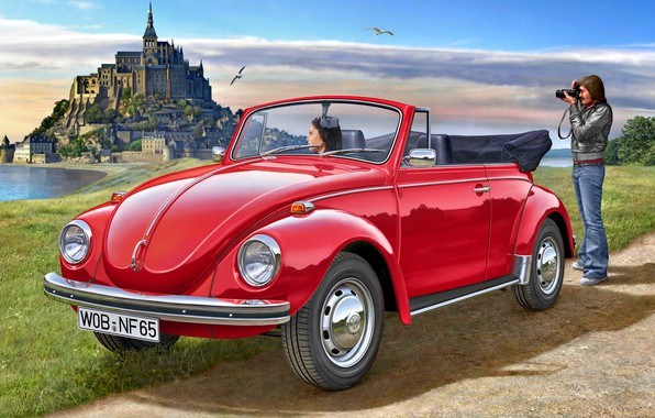 Картинка Девушка, Volkswagen, Чайки, Мужчина, 1970, Beetle, Cabriolet