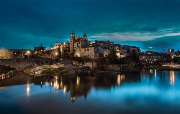 Картинка огни, вечер, Испания, Каталония, Gironella, Жиронелья