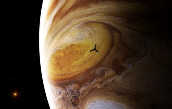 Картинка солнце, космос, звезды, планета, спутник, Юпитер, Юнона, зонд, космический аппарат