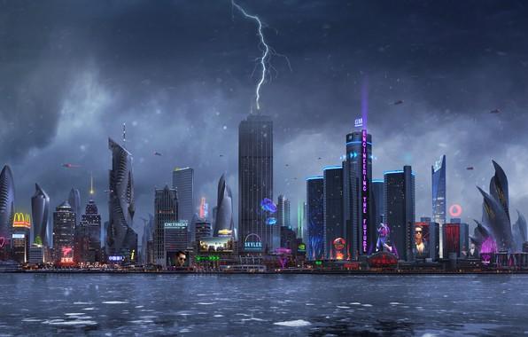 Картинка Город, Неон, Молния, Дождь, Небоскребы, Здания, City, Архитектура, Арт, Art, Lightning, Фантастика, Rain, Neon, Fiction, …