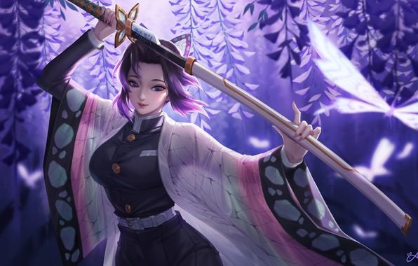 Картинка girl, sword, anime, purple eyes, katana, samurai, artwork, warrior, butterflies, kimono, purple hair, anime girl, …