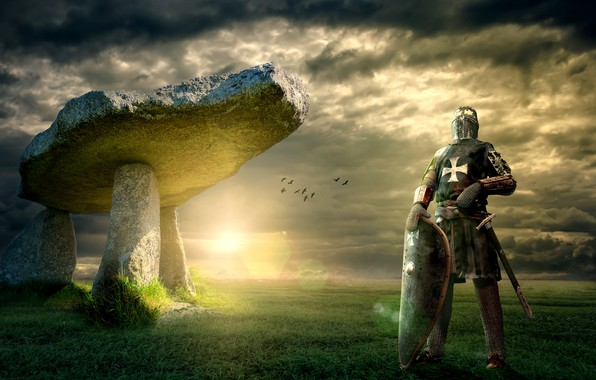 Картинка поле, небо, трава, солнце, облака, свет, пейзаж, птицы, тучи, поза, камни, рендеринг, оружие, коллаж, меч, ...