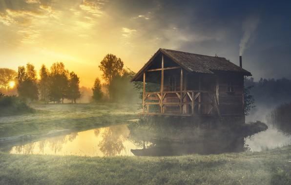 Картинка лес, лето, небо, трава, солнце, деревья, пейзаж, природа, туман, уют, озеро, дом, отражение, рассвет, берег, …