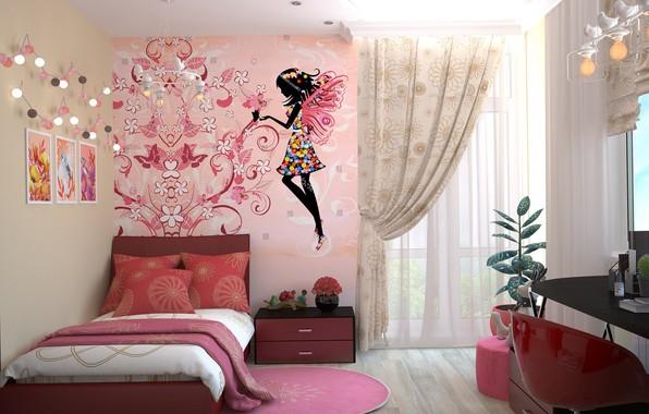 Картинка стол, комната, рисунок, кровать, интерьер, окно, картины, комод, тюль, детская, портьеры