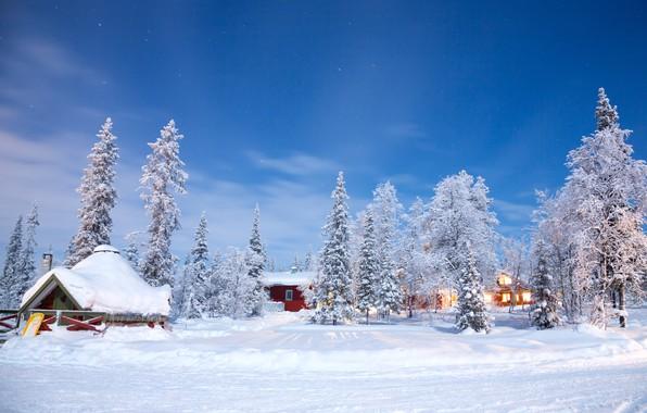 Картинка зима, снег, деревья, пейзаж, природа, зимний, домик, house, хижина, landscape, nature, beautiful, winter, snow